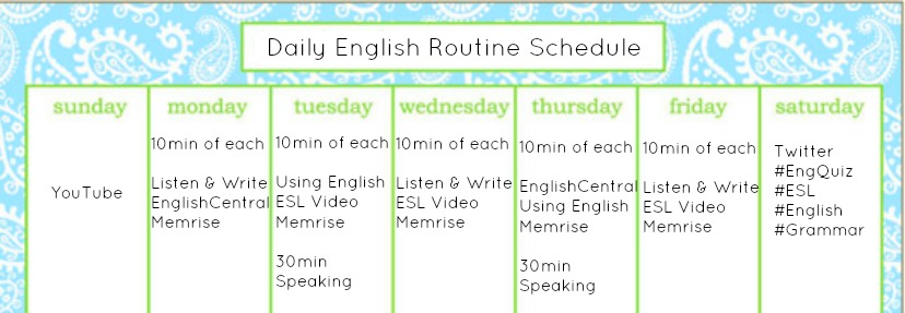 Daily English Routine Schedule
